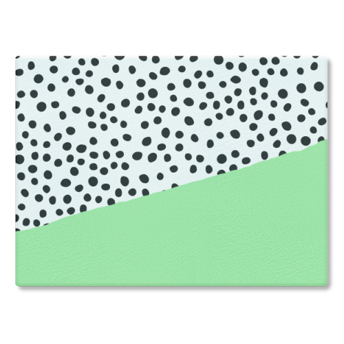 Mint Dalmatian print | green abstract print - glass chopping board by The 13 Prints