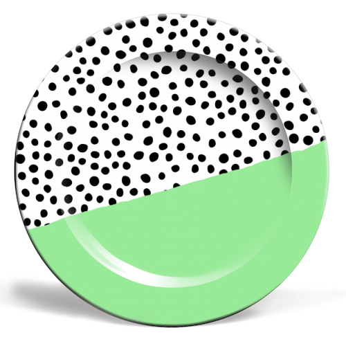 Mint Dalmatian print | green abstract print - personalised dinner plate by The 13 Prints