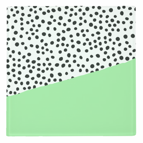 Mint Dalmatian print | green abstract print - personalised drink coaster by The 13 Prints