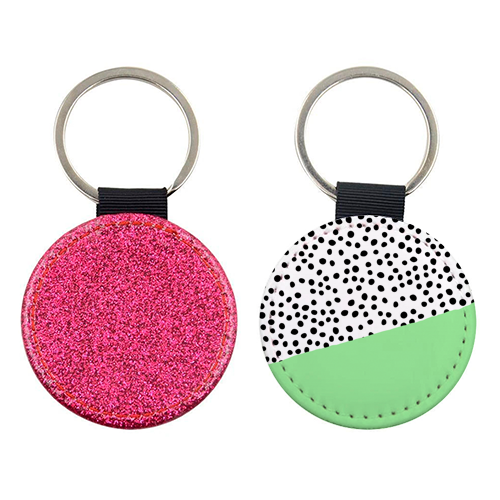 Mint Dalmatian print | green abstract print - personalised leather keyring by The 13 Prints