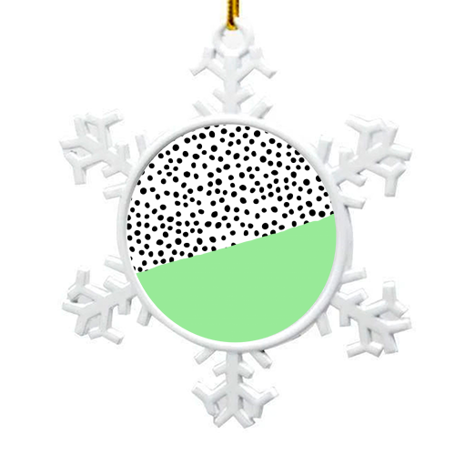 Mint Dalmatian print | green abstract print - snowflake decoration by The 13 Prints