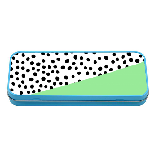 Mint Dalmatian print | green abstract print - tin pencil case by The 13 Prints