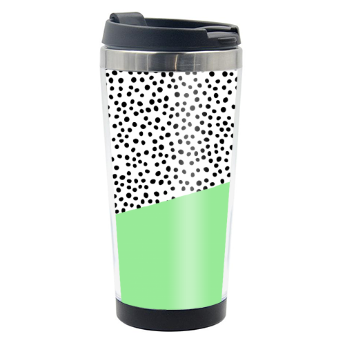 Mint Dalmatian print | green abstract print - travel water bottle by The 13 Prints