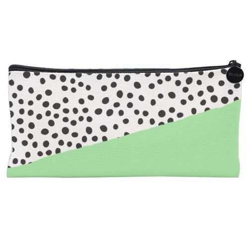 Mint Dalmatian print | green abstract print - unique pencil case by The 13 Prints