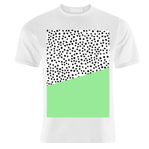 Mint Dalmatian print | green abstract print - unique t shirt by The 13 Prints