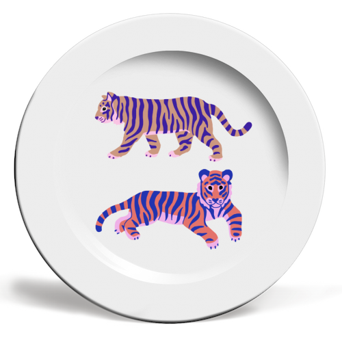 Tigers - ceramic dinner plate by Catalina Williams