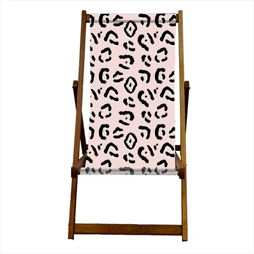 Modern Pink Leopard Animal Print - canvas deck chair by Dizzywonders