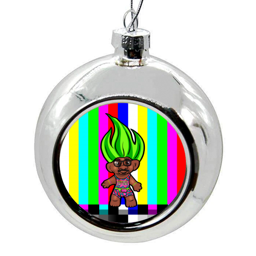Mr Motivator 90s Troll - colourful christmas bauble by Niomi Fogden