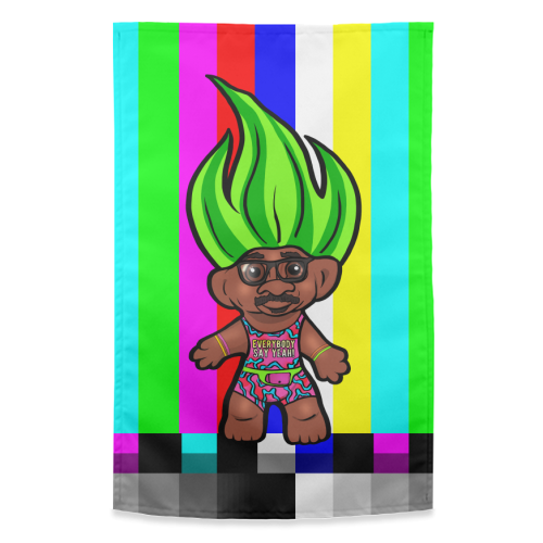 Mr Motivator 90s Troll - funny tea towel by Niomi Fogden
