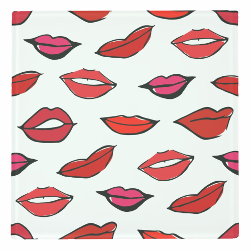 Red & Pink Lippy Pattern 2021 - personalised drink coaster by Bec Broomhall