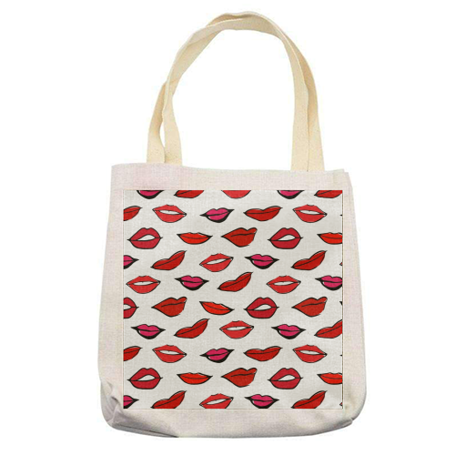 Red & Pink Lippy Pattern 2021 - printed tote bag by Bec Broomhall
