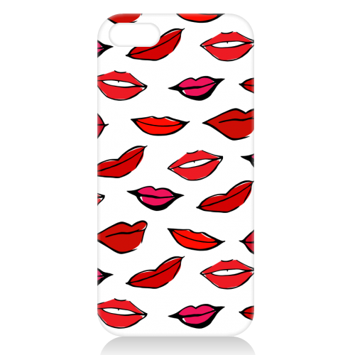 Red & Pink Lippy Pattern 2021 - unique phone case by Bec Broomhall