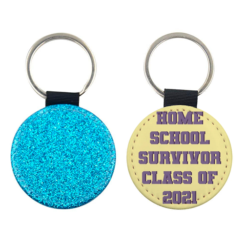 Home school survivor 2021 - personalised leather keyring by Cheryl Boland