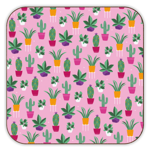 plant power pink - personalised drink coaster by sarah morley