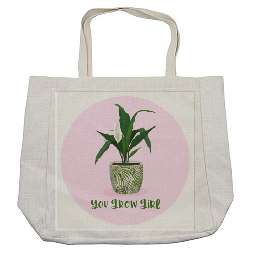 Peace Lily Plant - You grow girl - cool beach bag by Little Cat Creates