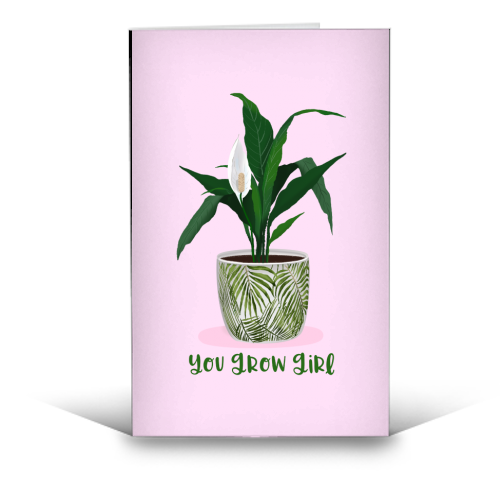 Peace Lily Plant - You grow girl - funny greeting card by Little Cat Creates