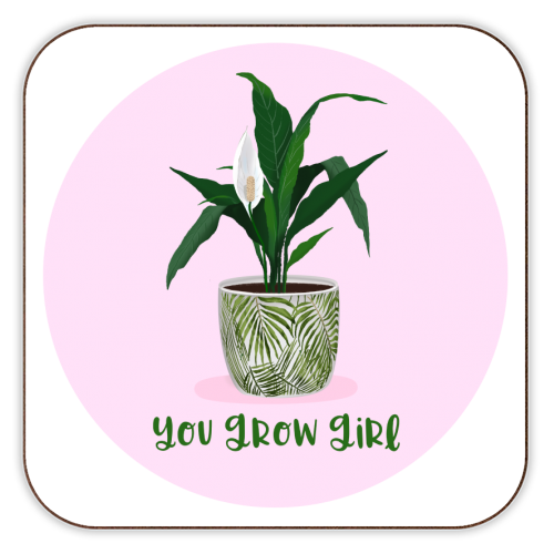 Peace Lily Plant - You grow girl - personalised drink coaster by Little Cat Creates