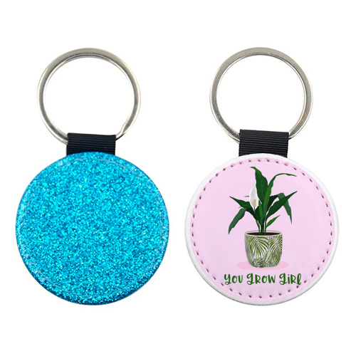 Peace Lily Plant - You grow girl - personalised picture keyring by Little Cat Creates
