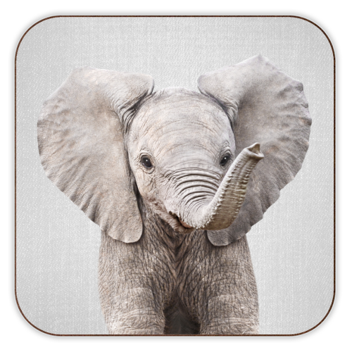 Baby Elephant - Colorful - personalised drink coaster by Gal Design