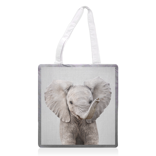 Baby Elephant - Colorful - printed tote bag by Gal Design