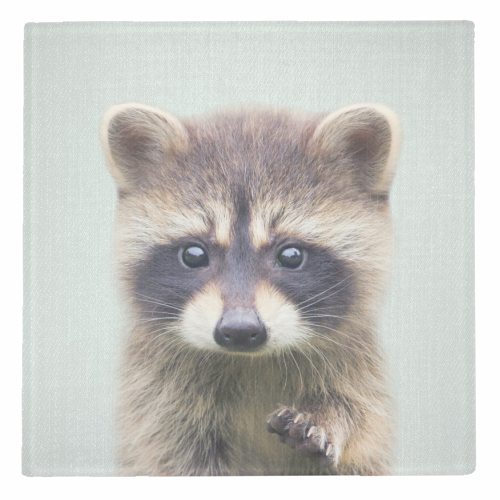 Raccoon - Colorful - personalised drink coaster by Gal Design