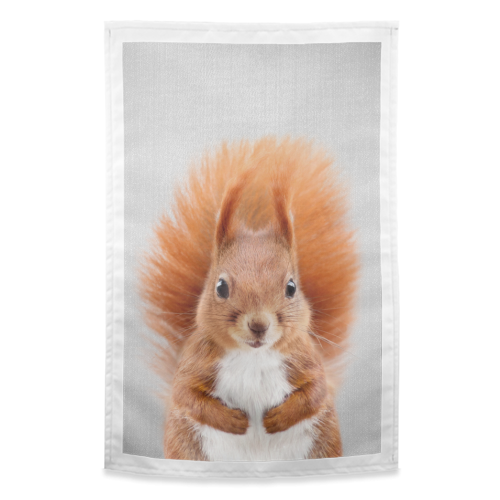 Squirrel - Colorful - funny tea towel by Gal Design