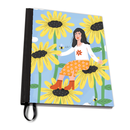 Cute sunflower girl - designed notebook by Katie Brookes