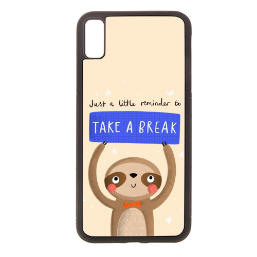 Take a break cute sloth character - Rubber phone case by Jessica Moorhouse