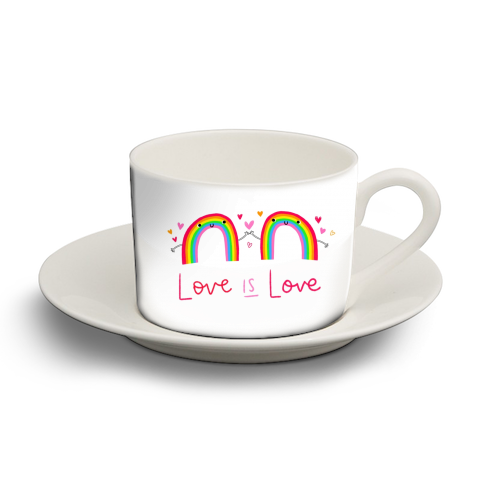 Love is Love - personalised cup and saucer by Jessica Moorhouse