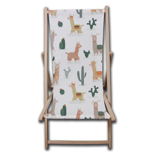 Fun llamas - canvas deck chair by Jessica Moorhouse