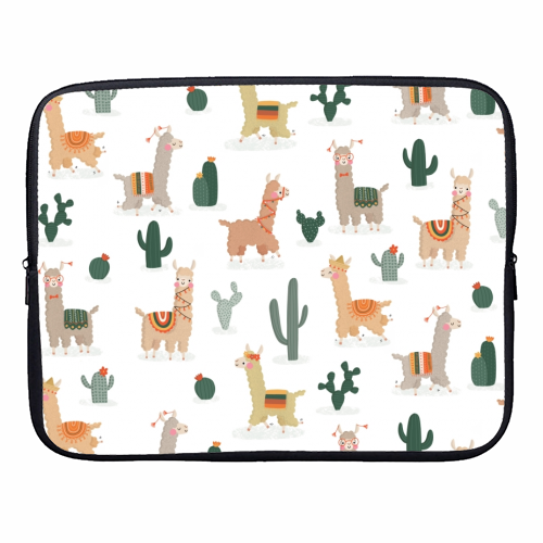 Fun llamas - designer laptop sleeve by Jessica Moorhouse