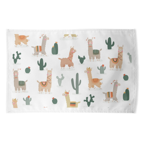 Fun llamas - funny tea towel by Jessica Moorhouse