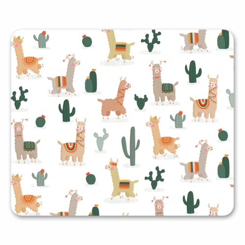 Fun llamas - personalised mouse mat by Jessica Moorhouse