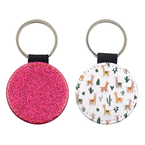 Fun llamas - personalised picture keyring by Jessica Moorhouse