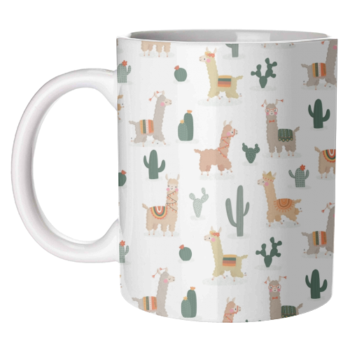 Fun llamas - unique mug by Jessica Moorhouse