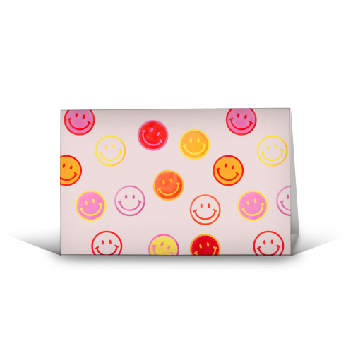 Smiling Faces Pattern - funny greeting card by Ania Wieclaw