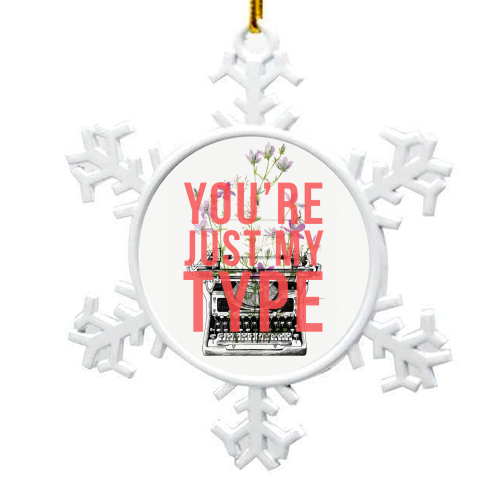 You're Just My Type - snowflake decoration by The 13 Prints