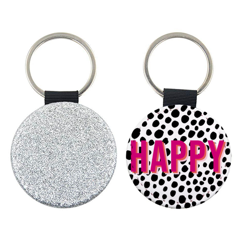 Happy Pink Polka Dot Typography Print - personalised picture keyring by Emily Jakeman
