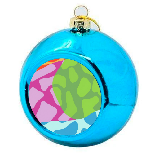 A Leopard's True Spots - colourful christmas bauble by Squiggle&Splodge