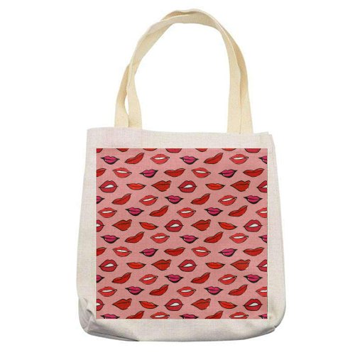 Red and Pink Lippy Pattern In Pink - printed tote bag by Bec Broomhall