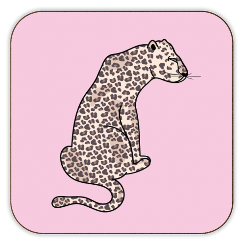 Leopard Illustration - personalised drink coaster by Mols & Mae
