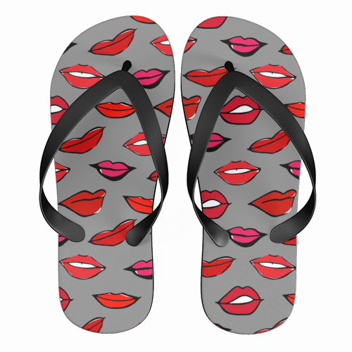Red and Pink Lippy Pattern in Grey - funny flip flops by Bec Broomhall