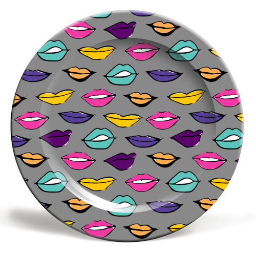 Neon Rainbow Lippy Pattern - personalised dinner plate by Bec Broomhall