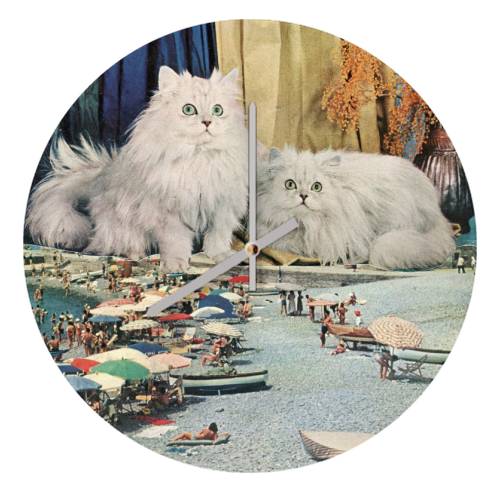 Cats beach - creative clock by Maya Land