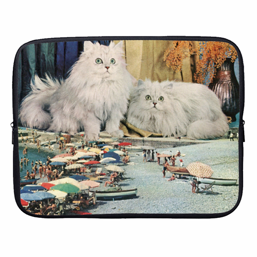 Cats beach - designer laptop sleeve by Maya Land