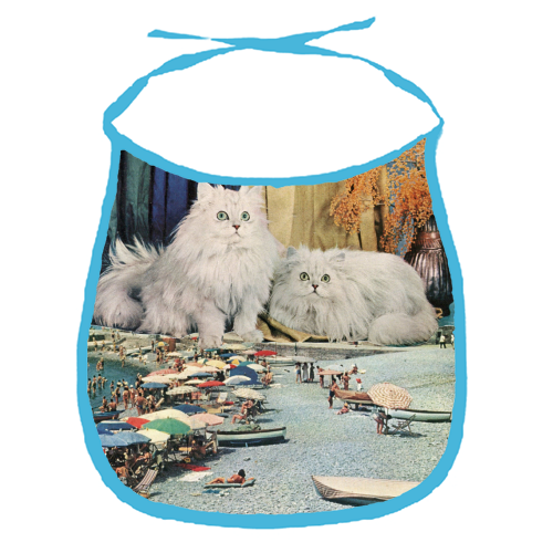 Cats beach - funny baby bib by Maya Land