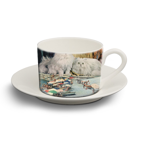 Cats beach - personalised cup and saucer by Maya Land