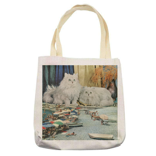 Cats beach - printed tote bag by Maya Land