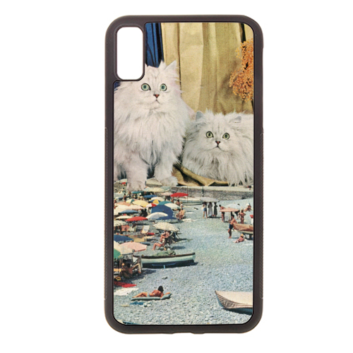 Cats beach - Rubber phone case by Maya Land