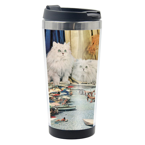 Cats beach - travel water bottle by Maya Land